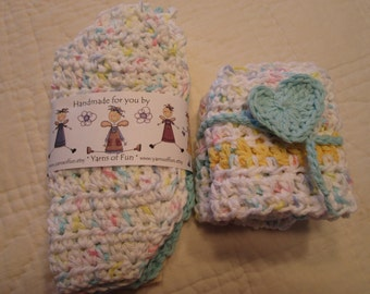 Crocheted Baby Bibs Set of 3 and Crocheted Washcloths Set of 2 Seafoam Green Yellow and White Plus Crocheted Heart Bookmark