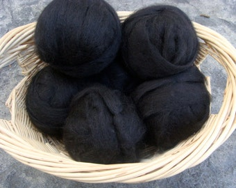 Alpaca Rovings in Black, Super soft and silky, Ready to Spin Two Ounces Handmade Spinning Supplies Felting DIY Doll Making