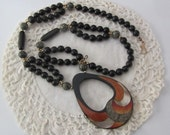 Vintage 1970's Wood Bead and Mother of Pearl Necklace
