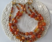 Vintage 1950's Amber Glass Beads Three Strand Choker Signed R.J. Graziano