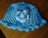 5 T Preteen  Multicolour Blue Crochet Cotton Cloche/Hat with Blue and White Flower