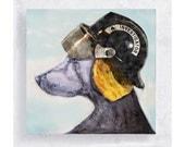 Animal Art - Dog Art - Weimaraner with Fire Inspector Helmet - Canvas Print on 5x5 Art Block - inspector Jake - Kids Playroom Decor