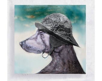 Dog Art - Weimaraner with Sou'wester Hat Canvas Print on 5x5 Art Block - Calm Before the Storm -  Animal Portrait -  Nautical Wall Decor
