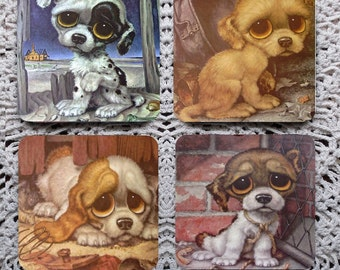 Pitiful Puppy -- 70s Big-Eyed Puppies Mousepad Coaster Set