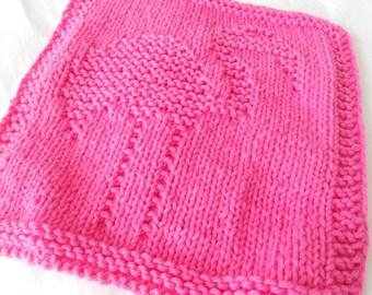 Flamingo dish cloth wash cloth in hot pink, dishcloth, washcloth, dishrag