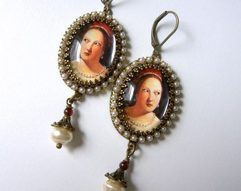 Incredulous - Renaissance Style Pearl and Garnet Earring with Charming Portrait