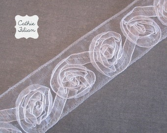 "White Flower Ribbon - Tattered - Sheer - 1.5"" Wide - Ribbon Roses"