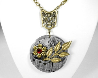Steampunk Jewelry Necklace Pocket Watch SWAROVSKI Red Crystal Leaves Gold Flower Anniversary Mothers Girlfriend Gift - Jewelry by edmdesigns