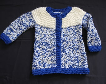 Handknit Blue and White Sweater/Jacket for Child