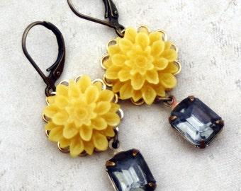 Yellow Flower Dangle Earrings, Mustard Dahlia  Flower and Rhinestone Dangle Earrings, Mustard Yellow, Gray Rhinestone Dangle Earring