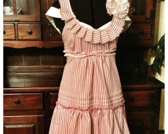 Red and cream stripe and ruffle sun dress