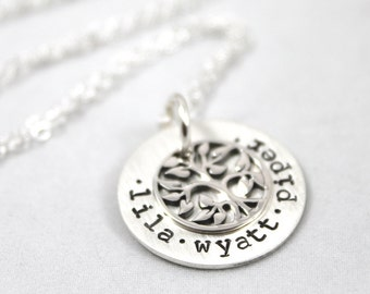 Mother's Day, Custom Hand Stamped, Family Tree Necklace, Minimal Necklace, Personalized Necklace, Sterling Silver, custom name, Gift for mom
