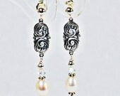 Bridal Downton Abbey Art Deco Art Nouveau Drop Earring with Freshwater Pearl and Swarovski Crystal on Sterling Silver Post