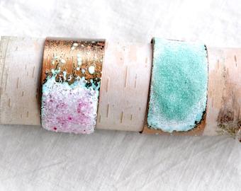 Handcrafted Jewelry - Asymmetrical Cuff - Enamel & Glass Bracelet