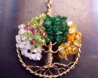 Tree of LIfe pendant - Four seasons - Gold tones - Beaded sculpture wire wrap - Tree of Life necklace winter spring summer fall autumn