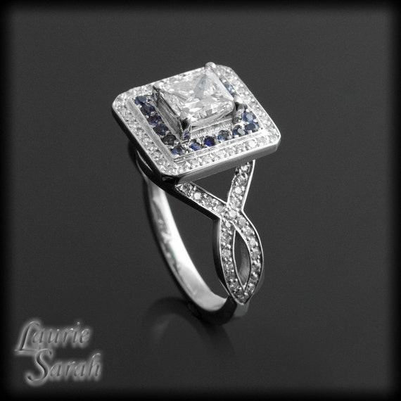 Engagement Ring, Princess Cut Diamond Engagement Ring with Sapphire & Diamond Double Halo - LS1378
