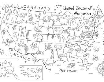 USA Map Pattern on Fabric