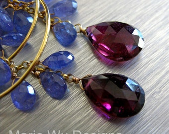 Luxe Tanzanite-8.5ct NATURAL Rubellite Tourmaline-14k Solid Gold Hoop Chandelier Earrings