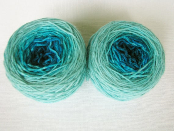 Matching Socks Set Greatest of Ease Sock Superwash Yarn Gradient Color: Turquoise Pool