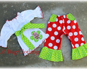 Custom Boutique Clothing Girl Strawberry Shortcake Knit Peasant Top  Red Lime Disco Dots  Capris Birthday Girl