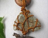Do not buy, RESERVED for WandererAdorna-WOLF MOUNTAIN wrapped waxed linen semi-precious stone necklace in greens and browns
