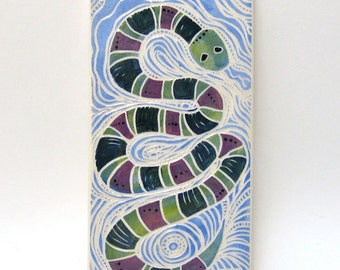 snake in the garden hand carved ceramic art tile
