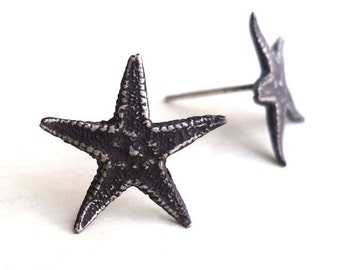 SALE - Starfish Earrings - Oxidized - Sterling Silver - Nautical - Starfish Studs - Black - Beachy Gifts - Starfish Posts - Made In Brooklyn