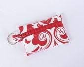 Small Zipper Pouch, Ear Bud Holder, Credit Card Case, Red Flourish