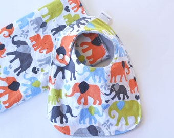 Baby Gift Set Bib and Burp Cloth Grey Elephant Walk for Baby