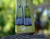 Spring Green Torch Fired Enamel Earrings