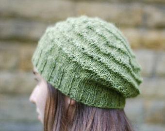 Soft Ridge Slouchy Beanie Hat - PDF Knitting Pattern / instrucions