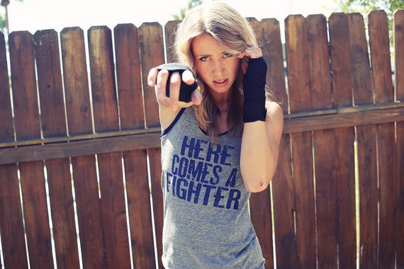 Here Comes a Fighter. Eco-Heather Workout Tank. Sizes S-XL.