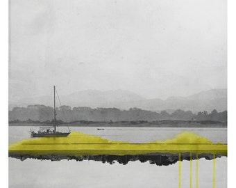 Bateau  (Landscape Photography - Fine Art Print - Boat on the ocean - Watercolor paints - Black and white - Yellow)