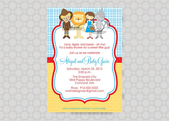 wizard of oz baby shower invitation tin man cowardly lion scarecrow