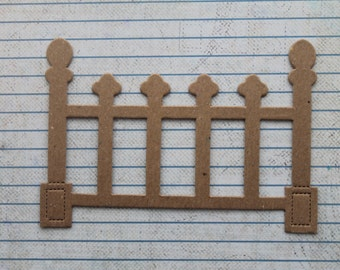 3 Ornate Fence Bare chipboard die cuts 4 1/2 inches wide x 3 1/8 inches tall