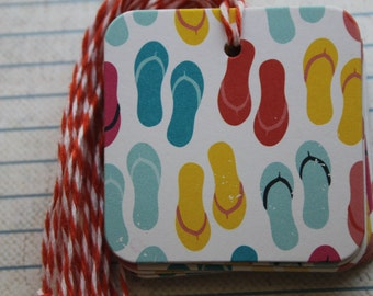 25 Flip Flop Gift Tags all colors of flip flops distressed paper over chipboard...Prestrung Tags 2 x 2 inches