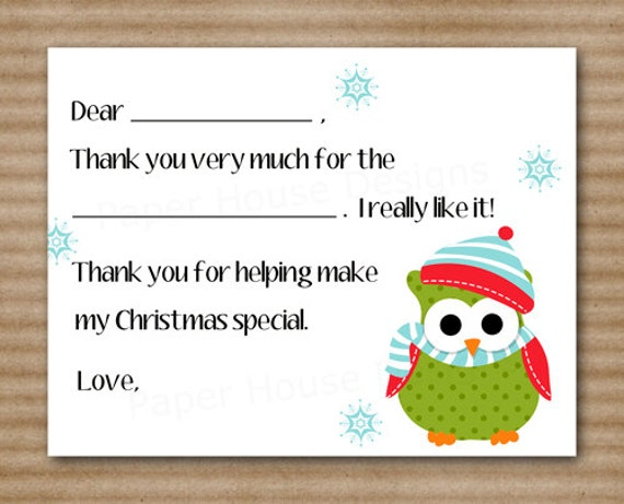 Printable Christmas Thank You Cards For Kids Printable kids fill-in