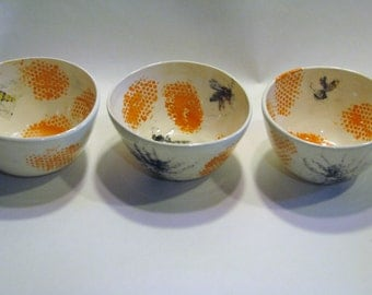 Bowls with bees