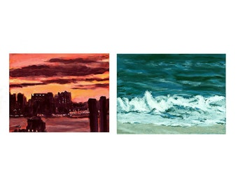 New Light and Montauk Surf. A paired set of original paintings