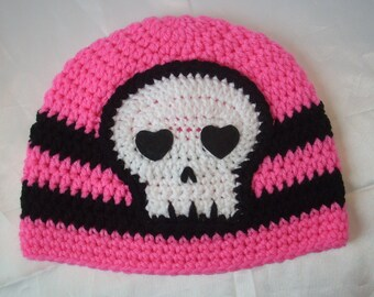 Skull Beanie Hat Crochet Pink and Black Skull beanie HAT Ready To Ship