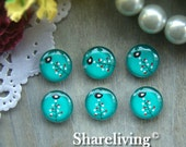 12mm Photo Glass Cabochon, 8mm 10mm 14mm 16mm 20mm 25mm 30mm Round Little Birds glass Cabochon - BCH173K