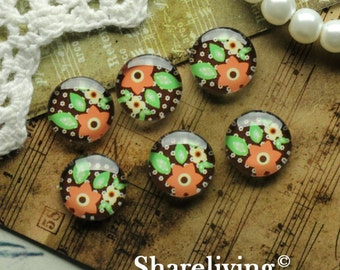 Glass Cabochon, 8mm 10mm 12mm 14mm 16mm 20mm 25mm 30mm Round Handmade photo glass Cabochons (Floral)  -- BCH191S