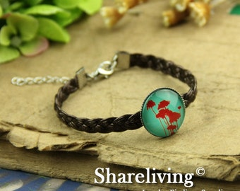4pcs Bangle Bracelet With 20mm Round Silver Cameo Setting (Brown) -- RI857A