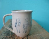 Handmade Pottery Mug, White Ceramic Coffee Mug with Blue Trees