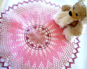 Mauve and Pinks Colored Round Hand Crocheted Doily 15 inches