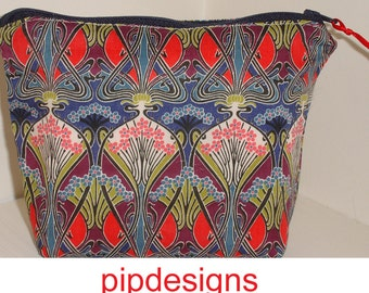 Make-Up Cosmetics Toiletries Purse Pouch Liberty Ianthe Art Deco Cosmetic Bag Zipped Padded Liberty of London 1920's Style