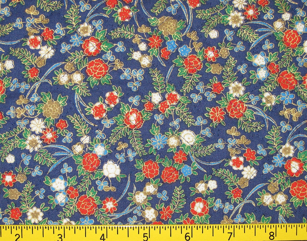 Japanese Fabric Book Cover : Floral design japanese asian pre quilted fabric half meter cut
