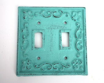 Shabby Cottage Chic Cast Iron Double Switch Plate Cover