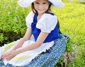 Cute Little Dutch Girl Costume Dress and Hat Netherlands, Holland, Scandinavian, traditional folk, story book, nursery rhyme, fairy tale new