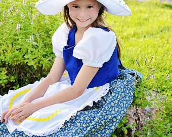Cute Little Dutch Girl Costume Dress and Hat